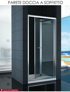 Parete box doccia a nicchia in cristallo trasparente 6mm - Porta doccia soffietto ...